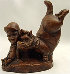 Click here to enlarge image and see more about item 071: Satirical Horse and Jockey Sculpture