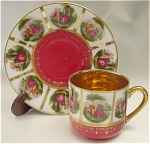 Click here to enlarge image and see more about item 085: Demitasse Limoges Style Teacup and Saucer
