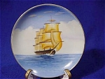 <b>Hand painted ship plate measures 4in. in diameter.   