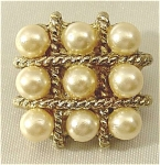 Click here to enlarge image and see more about item 153: Sophisticated Vintage Squared Pearl Brooch