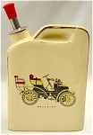 <b>This fabulous little flask is ready to fill with your favorite libation!  Flask's front has a textured transfer print of a vintage Wolseley car.    <u>On the back it reads:</u>  <center><font color=green>There are many good Reasons for Drinking And one's just entered        my head.  If a Fellow can't Drink  When he' Living,  How the 'ell can he Drink when he's Dead.</font></center>  Color: light yellow with gold trim.  Flask has a metal and cork insert with a red plastic cap.  Unmarked