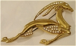 <b>This stunning gazelle in motion has an array of brilliant rhinestones encrusted in its goldtone body.