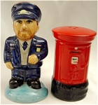 Click here to enlarge image and see more about item 181: Royal Mail Postman and Letterbox Salt & Pepper Set