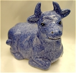 <b>This lovely handpainted cow has a blue speckled pattern.  