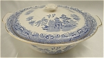 Click here to enlarge image and see more about item 197: Vintage Empire England Blue and White Old Willow Covered Tureen