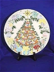 <b>Vintage Christmas Tree platter is handpainted and glazed in vibrant colors with gold accents.   