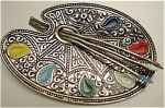 Click to view larger image of Toledo Ware Silvertone Painter's Pallet Art Pin (Image1)