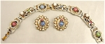 Coro White Enamel Rhinestone & Cabochan Bracelet & Earrings Set