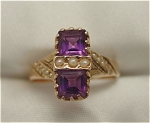 <b>Exquisite vintage ring with 2 simple square cut amethysts set in rose gold (1.18 carat TW).   