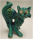 Click here to enlarge image and see more about item 244: 1970s Vintage Majolica Miniature Cat Figurine with Googly Eyes