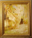 <b>Oil on Canvas Framed in 3in gold wood frame Total size with frame: 21.5in x 25.5in  Artist: M. Harold* Content: Impressionistic sitting nude woman with hat.  Soft lines, delicate features.  *We have been unable to find any biography or any other information on this artist at this time.