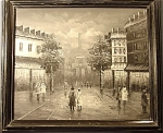 <b>Black and white oil on canvas Framed in 2.5 in black with white accent wood frame Total size with frame: 24.5in x 28.5in  Artist: Unknown Content: Vintage streets of Paris with the Eiffle Tower in the background.