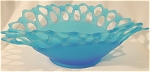 <b>Beautiful graduating frosted blue (light to dark) bowl with double crochet laced edge.  Pattern: Double crochet Color: Blue Glass: Frosted  Westmoreland mark: WG (the W is over the G) on bottom of rim.  There are a few scratch marks on the inside bottom of bowl.