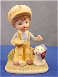 Click here to enlarge image and see more about item 342: Vintage Boy and His Puppy Figurine