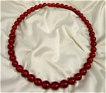 Vintage Red Bakelite Beaded Necklace