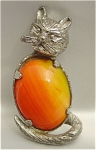 Vintage Pewter Cat Pin with Orange Agate Belly Stone