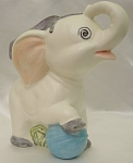 Click here to enlarge image and see more about item 408: Vintage Baby Circus Elephant Hand Painted Planter