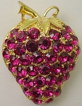 Eisenberg Ice Fushia Strawberry Brooch