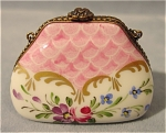 <b>Hand painted miniature porcelain purse tinket box. 