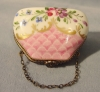 Click to view larger image of French Limoges Hand Painted Floral Miniature Purse (Image3)