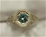 Click to view larger image of Vintage 14K White Gold Blue Diamond Ring (Image1)