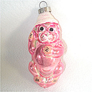 Pink Dog in Conical Hat Glass Christmas Ornament (Image1)