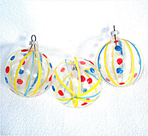 Stripes and Polka Dots West Germany Unsilvered Glass Christmas Ornaments (Image1)