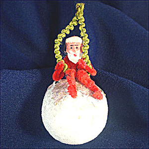 Clay Face Chenille Santa on Cotton Compo Ball Christmas Ornament (Image1)