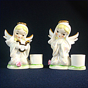 2 Pearl Lusterware Japan Kneeling Angel Candle Holder Figurines (Image1)