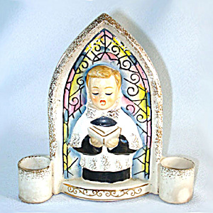 Christmas Choir Boy Ceramic Wall Pocket Candle Holder (Image1)