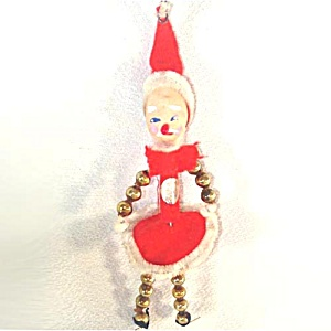 Beaded Santa Claus Elf Retro Christmas Ornament (Image1)