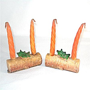Pair Gurley Yule Log Figural Christmas Candles (Image1)