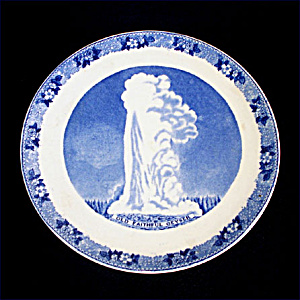 Adams Old Faithful Yellowstone Blue Transferware Souvenir Plate (Image1)