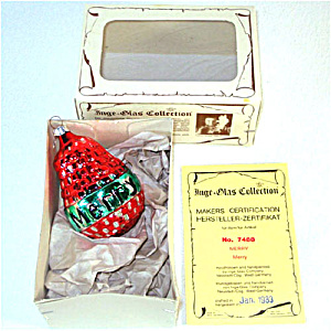 Red Green Merry Pear Inge Glas Christmas Ornament Mint in Box (Image1)
