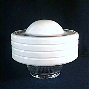 Art Deco White Clear Ringed Glass Ceiling Light Shade Convex Center (Image1)
