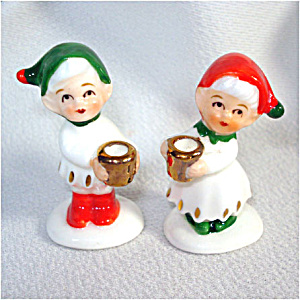 Napco Mini Bone China Christmas Elf Candle Holders (Image1)