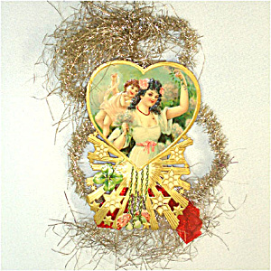 Victorian Die-Cut Paper and Tinsel Scrap Christmas Ornament (Image1)