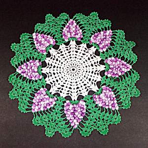 Crocheted Purple Grapes Vintage Doily 15 Inches Round