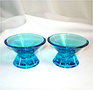 Iittala Finland Art Glass Blue Candlesticks (Image1)