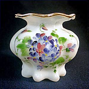 Consolidated Opal Glass Vase Handpainted Violets