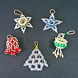 4 Hand Crafted Dimensional Beaded Christmas Ornaments