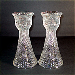 Fostoria For Avon Hearts and Diamonds Glass Candlesticks Vases (Image1)