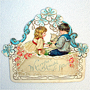 Antique Embossed Easter Card Little Boy, Girl, Lamb, Flowers (Image1)