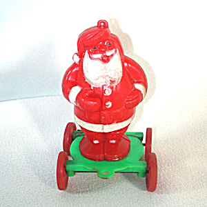 Rosen Santa on Wheels Christmas Candy Container Pull Toy (Image1)