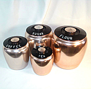 Kromex Pink Copper Colored Aluminum Kitchen Canister Set (Image1)