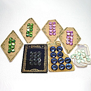 7 Cards Colored Pearl Fashion Sewing Buttons