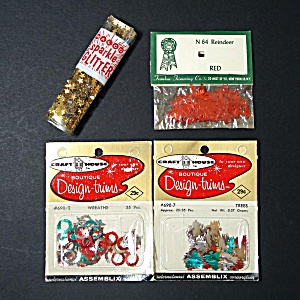 1960s Christmas Figural Sequins, Star Glitter For Ornament Crafting