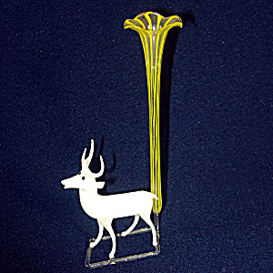 German Blown Art Glass Reindeer Trumpet Vase Circa 1930, 2 Available (Image1)