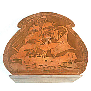 Arts And Crafts Acid Etched Copper Clipper Ship Bookend