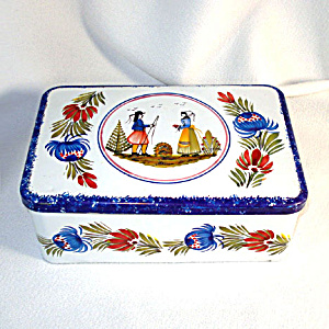 French Quimper Style Breton Biscuit Tin (Image1)